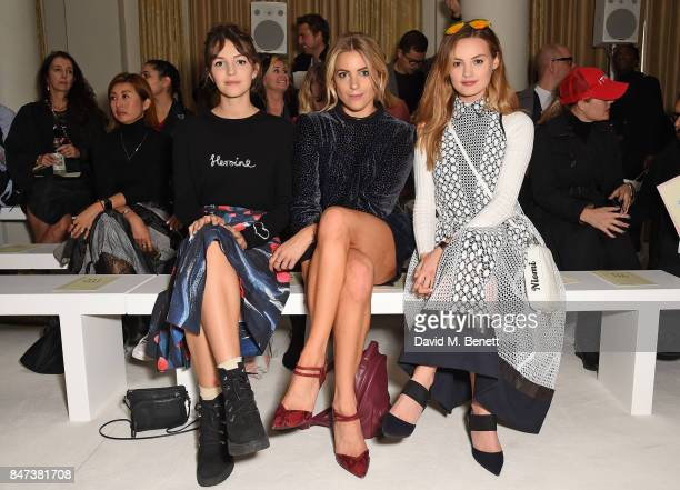 Ella Hunt Olivia Cox and Niomi Smart attend the DAKS show during London Fashion Week September 2017 at The Langham Hotel on September 15 2017 in...