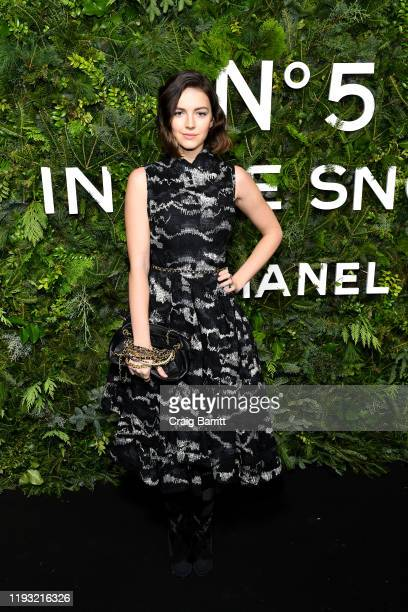 Ella Hunt wearing CHANEL attends the CHANEL party to celebrate the debut of CHANEL N5 In The Snow at The Standard High Line on December 10 2019 in...
