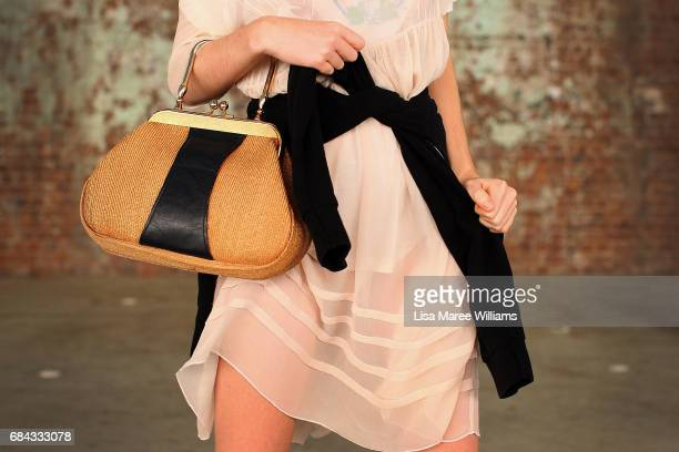 Ella Jane wearing Stella McCartney shoes dress by Venetta Claine and glasses by Calvin Klein during MercedesBenz Fashion Week Resort 18 Collections...
