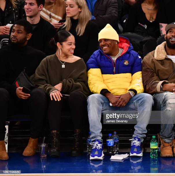 Ella Mai and Ma$e attend Boston Celtics v New York Knicks game at Madison Square Garden on February 1 2019 in New York City