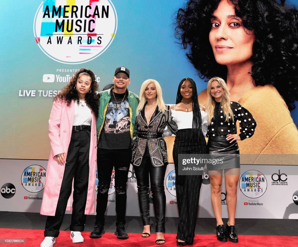 Ella Mai, Kane Brown, Bebe Rexha, Normani and Chelsea Briggs attend The '2018 American Music Awards' Nominations at YouTube Space LA on September 12, 2018 in Los Angeles, California.