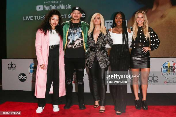 Ella Mai Kane Brown Bebe Rexha Normani and Chelsea Briggs attend the 2018 American Music Awards nominations announcement at YouTube Space LA on...