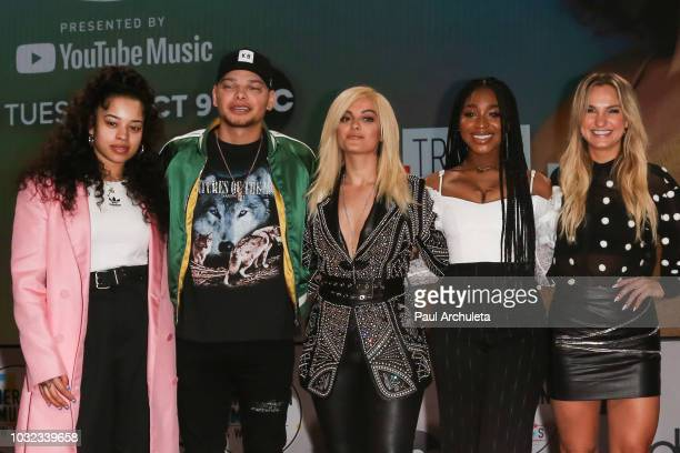 Ella Mai Kane Brown Bebe Rexha Normani and Chelsea Briggs attend the '2018 American Music Awards' nominations announcement at YouTube Space LA on...