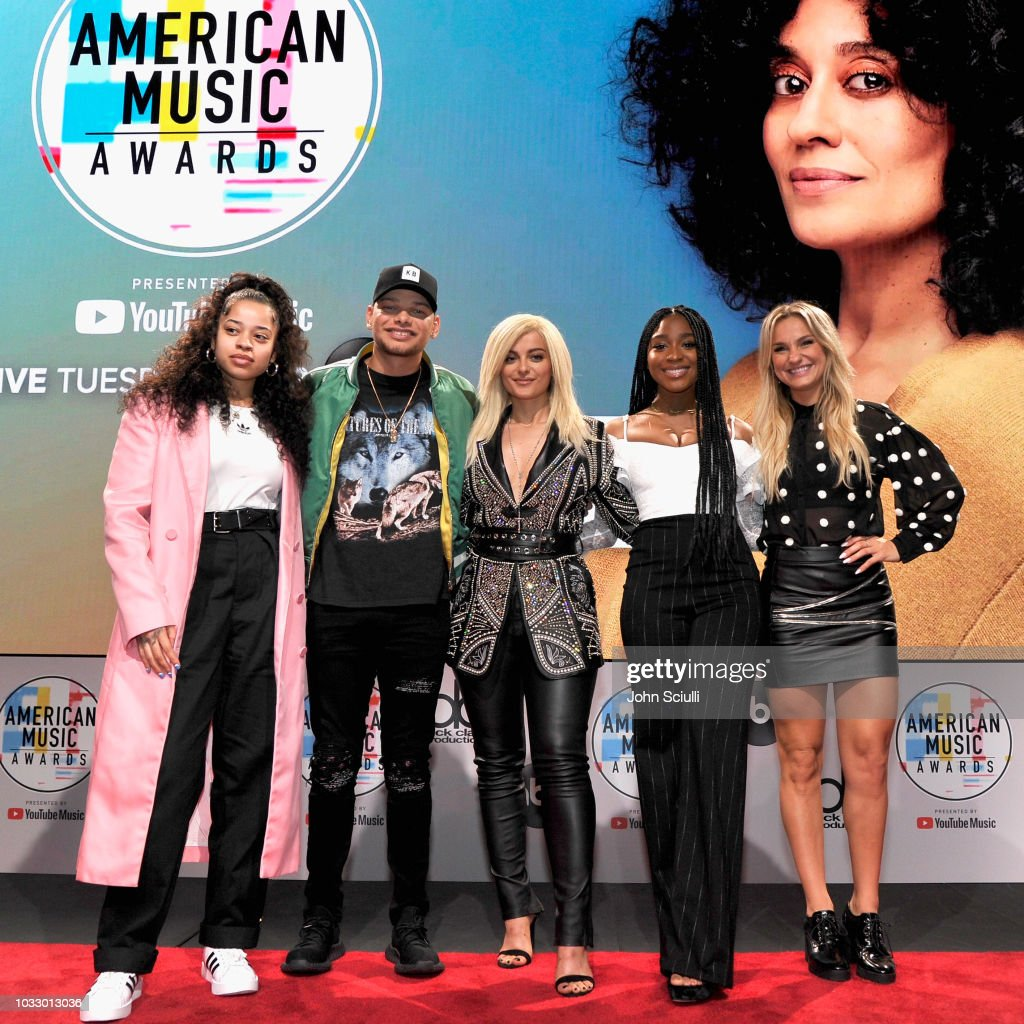 Ella Mai, Kane Brown, Bebe Rexha, Normani and Chelsea Briggs attend The '2018 American Music Awards' Nominations at YouTube Space LA on September 12, 2018 in Los Angeles, California