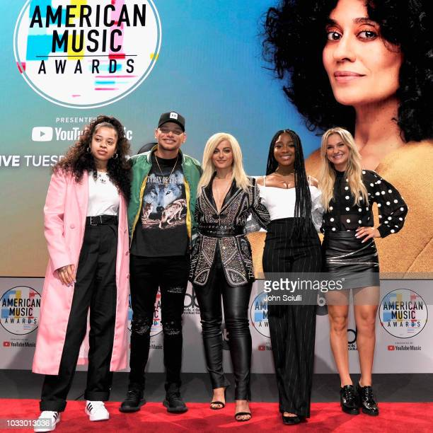 Ella Mai Kane Brown Bebe Rexha Normani and Chelsea Briggs attend The '2018 American Music Awards' Nominations at YouTube Space LA on September 12...