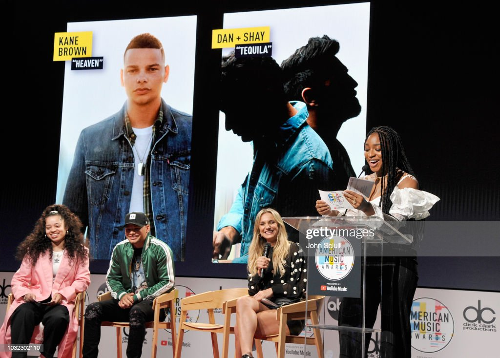 Ella Mai, Kane Brown, Chelsea Briggs and Normani speak onstage during The '2018 American Music Awards' Nominations at YouTube Space LA on September 12, 2018 in Los Angeles, California.