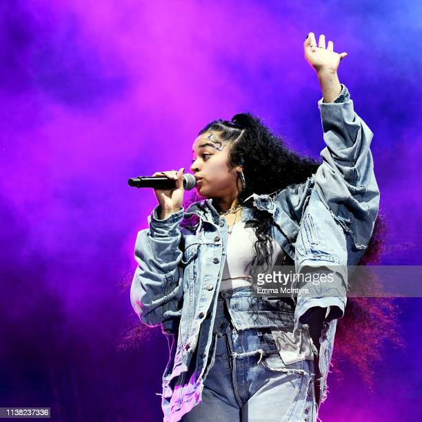 Ella Mai performs at Outdoor Theatre during the 2019 Coachella Valley Music And Arts Festival on April 19 2019 in Indio California