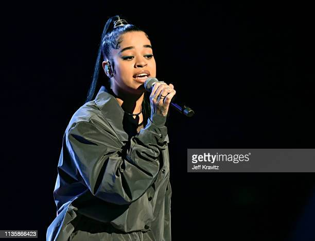 Ella Mai performs on stage at the 2019 iHeartRadio Music Awards which broadcasted live on FOX at the Microsoft Theater on March 14 2019 in Los...