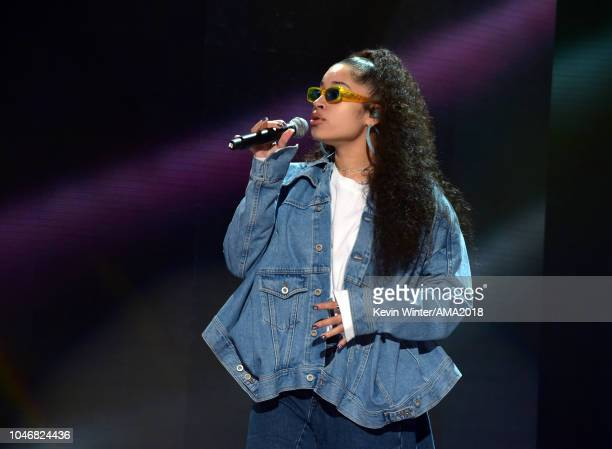 Ella Mai performs onstage during the 2018 American Music Awards rehearsals at Microsoft Theater on October 6 2018 in Los Angeles California