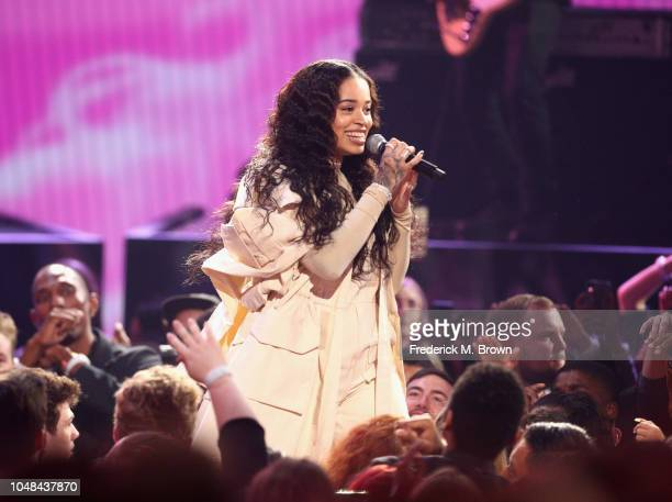 Ella Mai performs onstage during the 2018 American Music Awards at Microsoft Theater on October 9 2018 in Los Angeles California