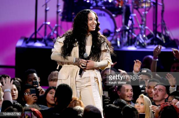 Ella Mai speaks onstage during the 2018 American Music Awards at Microsoft Theater on October 9 2018 in Los Angeles California