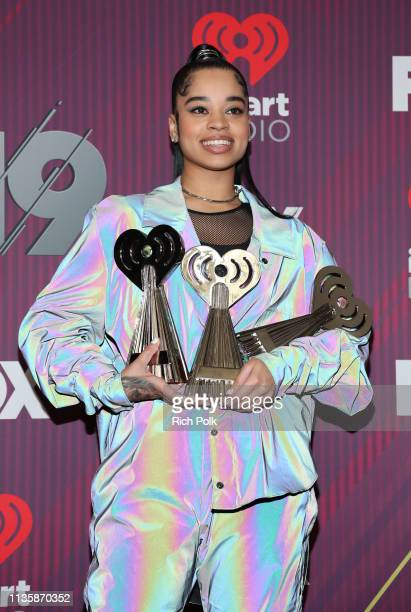Ella Mai winner of RB Artist of the Year Best New RB Artist and RB Song of the Year for 'Boo'd Up' poses in the press room during at the 2019...