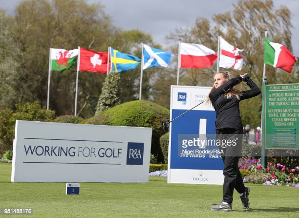 Ella Mason during practice for the Girls' U16 Open Championship at Fulford Golf Club on April 26 2018 in York England