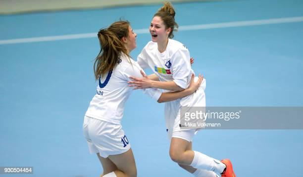 Ella Mettner of Berlin celebrates scoring a goal with Laura Schoepp of Berlin during the DFBFutsalCup half final match between 1FC Koeln vs SV Adler...