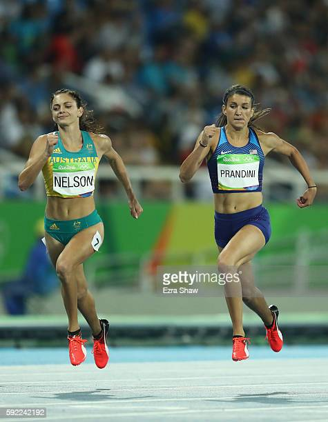 Ella Nelson of Australia and Jenna Prandini of the United States compete during the Women's 200m semifinal on Day 11 of the Rio 2016 Olympic Games at...