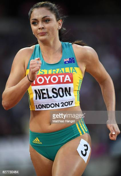 Ella Nelson of Australia competes in the Women's 200 metres heats during day five of the 16th IAAF World Athletics Championships London 2017 at The...
