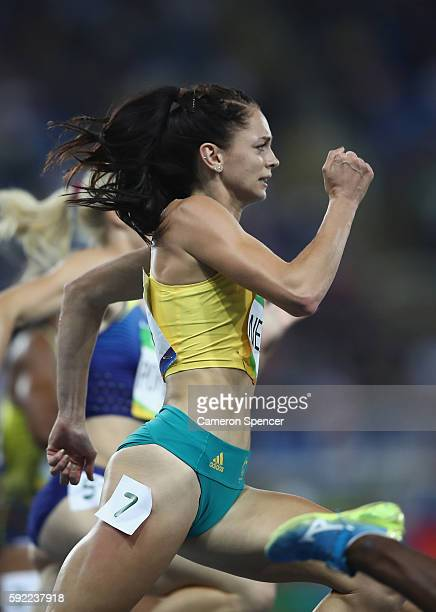 Ella Nelson of Australia competes in the Women's 200m semifinal on Day 11 of the Rio 2016 Olympic Games at the Olympic Stadium on August 16 2016 in...