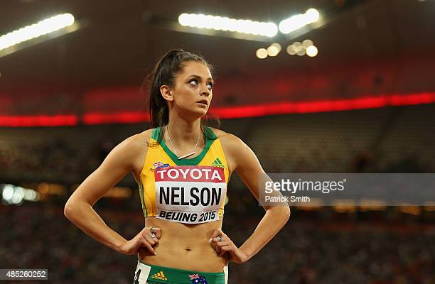 Ella Nelson of Australia looks on after competing in the Women's 200 metres heats during day five of the 15th IAAF World Athletics Championships...
