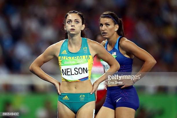 Ella Nelson of Australia reacts during the Women's 200m Semifinals on Day 11 of the Rio 2016 Olympic Games at the Olympic Stadium on August 16 2016...