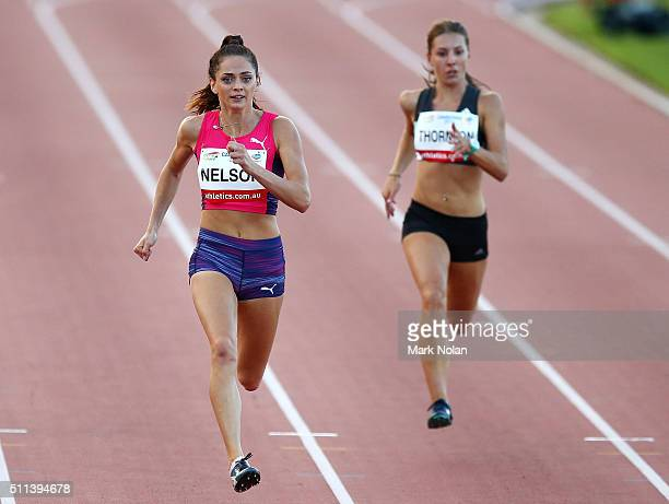 Ella Nelson of NSW and Jessica Thornton of NSW compete in the Womens 200 Metre race during the Canberra Track Classic at the AIS Athletics track...