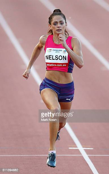 Ella Nelson of NSW competes in the Womens 200 Metre race during the Canberra Track Classic at the AIS Athletics track February 20 2016 in Canberra...