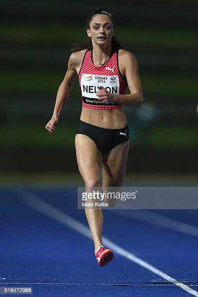 Ella Nelson of the NSW Institute of Sport competes in the women's 200 metres during the 2016 Sydney Track Classic at Sydney Olympic Park Sports...