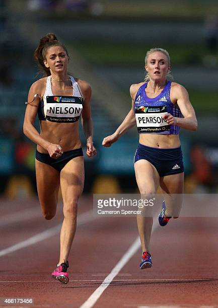 Ella Nelson of Victoria and Sally Pearson of Queensland compete in the womens 200m final during the Sydney Track Classic at Sydney Olympic Park on...