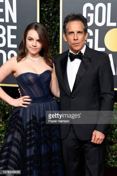 Ella Olivia Stiller and Ben Stiller attend the 76th Annual Golden Globe Awards at The Beverly Hilton Hotel on January 6 2019 in Beverly Hills...