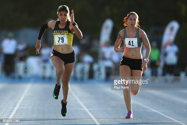 Ella Pardy competes in the women'a 100 metre Div B during the Jandakot Airport Perth Track Classic at WA Athletics Stadium on January 13 2018 in...