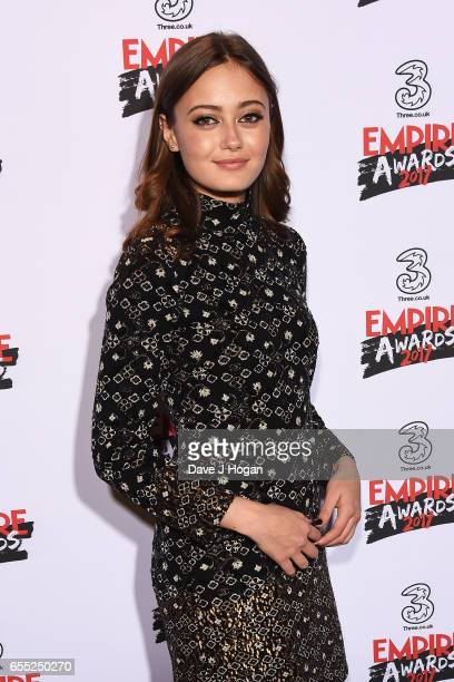 Ella Purnell poses in the winners room at the THREE Empire awards at The Roundhouse on March 19 2017 in London England