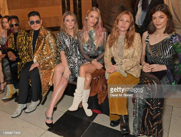 Ella -Rae Smith, Billy Porter, Sam Ratelle, Bea Fresson, Mary Charteris, Josephine de La Baume and Amber Anderson attend the Halpern show during...