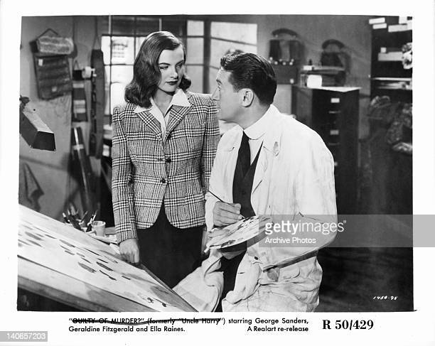 Ella Raines and George Sanders talk as he paints in a scene from the film 'The Strange Affair Of Uncle Harry' 1945