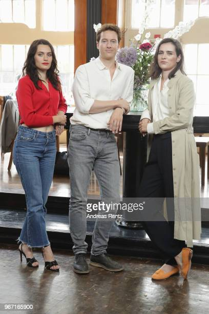 Ella Rumpf Alexander Fehling and Nora Tschirner pose during 'Gut gegen Nordwind' on set photocall on June 4 2018 in Cologne Germany