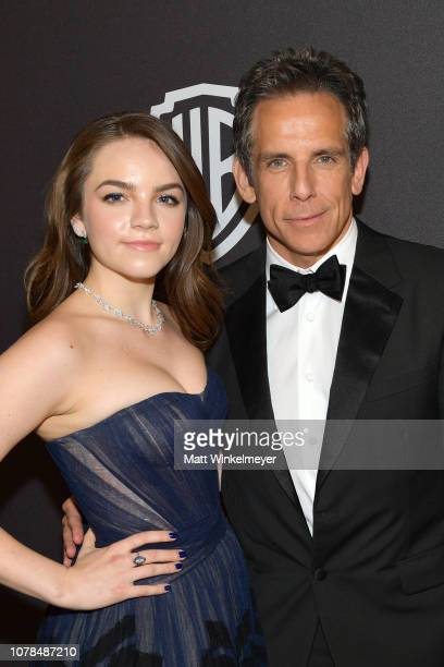 Ella Stiller and Ben Stiller attend the 2019 InStyle and Warner Bros 76th Annual Golden Globe Awards PostParty at The Beverly Hilton Hotel on January...