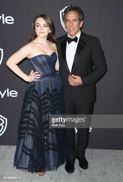Ella Stiller and Ben Stiller attend the InStyle And Warner Bros. Golden Globes After Party 2019 at The Beverly Hilton Hotel on January 6, 2019 in...