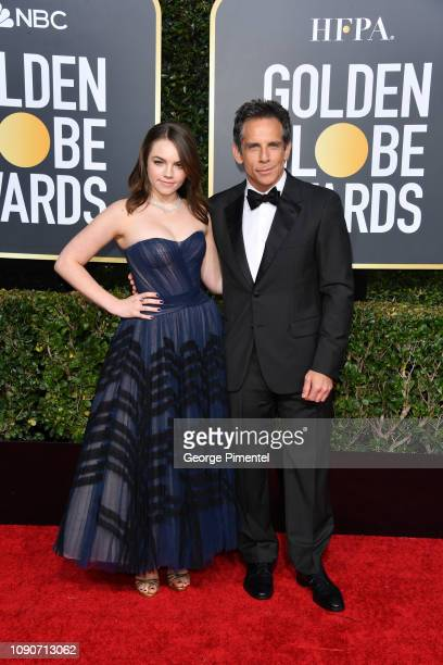 Ella Stiller and Ben Stiller attends the 76th Annual Golden Globe Awards held at The Beverly Hilton Hotel on January 06, 2019 in Beverly Hills,...