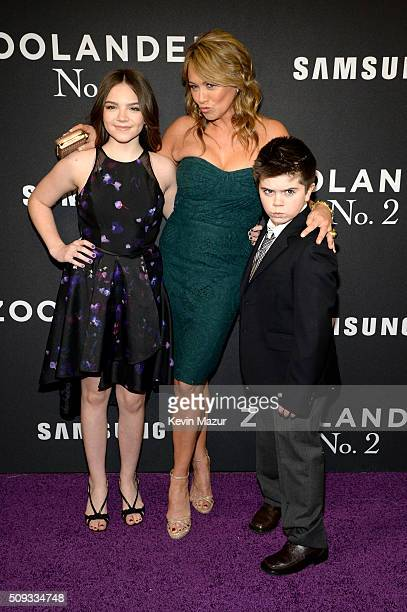 Ella Stiller Christine Taylor and Quinlin Stiller attend the Zoolander 2 World Premiere at Alice Tully Hall on February 9 2016 in New York City