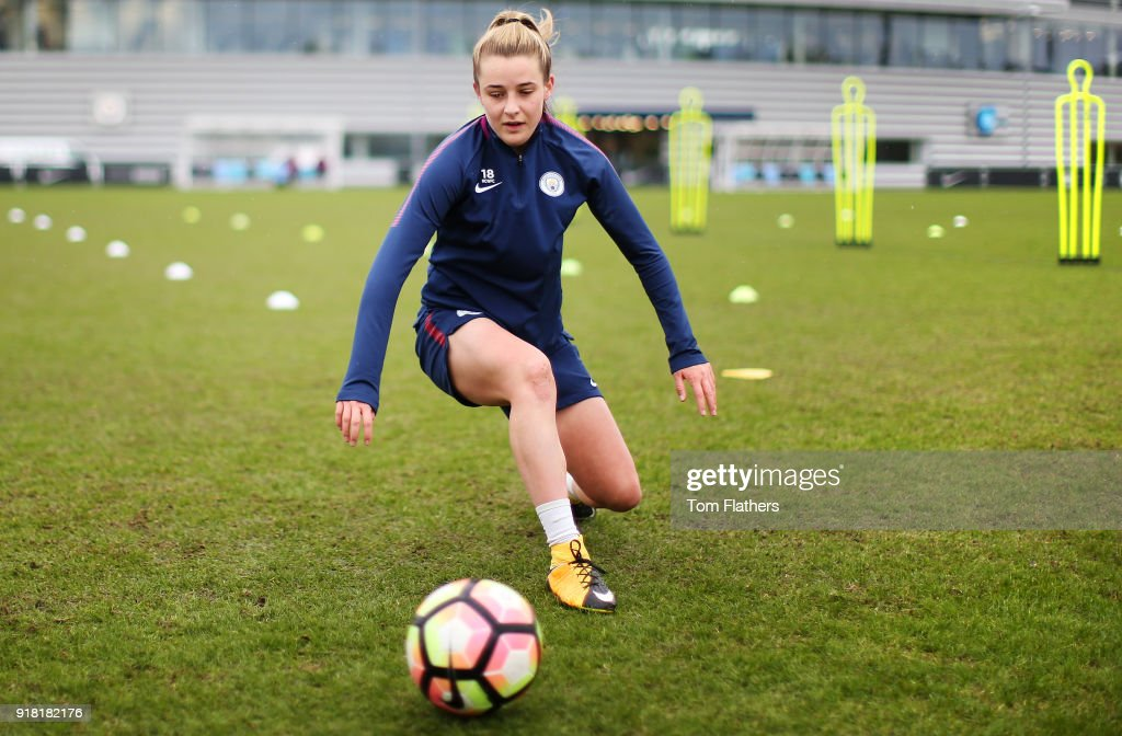 Ella Toone during training at Manchester City Football Academy on February 14, 2018 in Manchester, England.