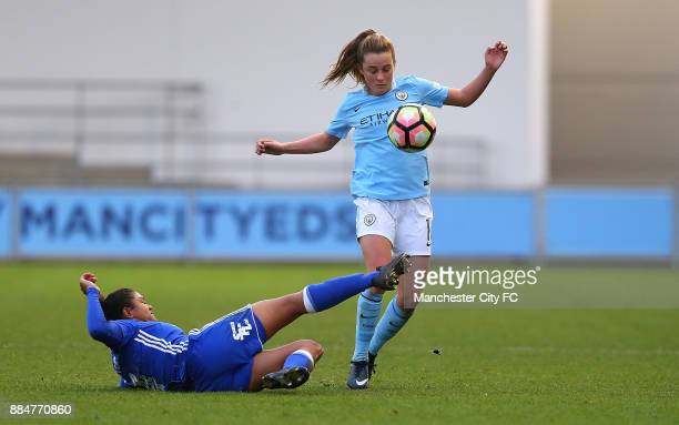 Ella Toone of Manchester City Women battles with Jess Carter of Birmingham City Ladies during the FA WSL Continental Tyres Cup between Manchester...
