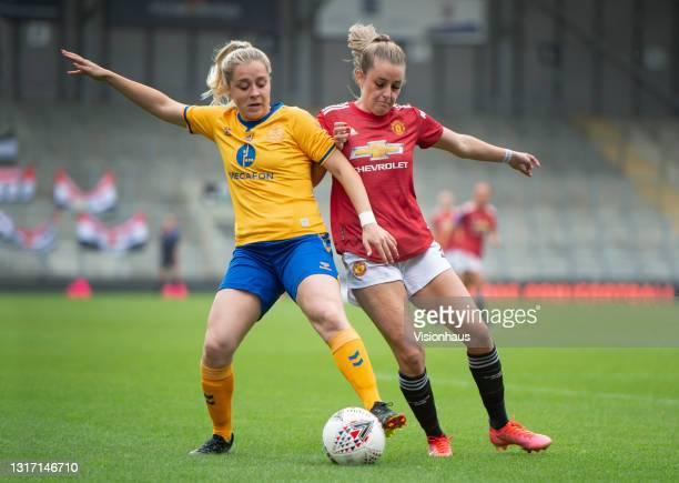 Ella Toone of Manchester United and Poppy Pattinson of Everton in action during the Barclays FA Women's Super League match between Manchester United...