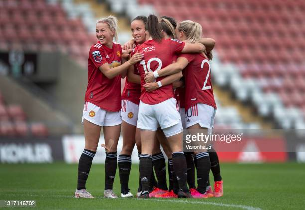 Ella Toone of Manchester United celebrates scoring their team's first goal with team mates Jackie Groenen , Jane Ross, Kirsty Smith, Lucy Staniforth...