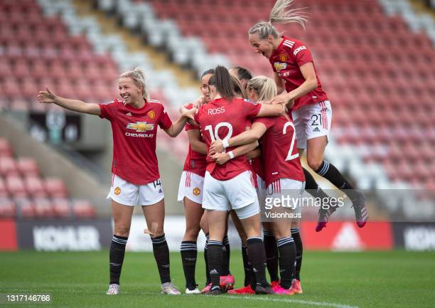 Ella Toone of Manchester United celebrates scoring their team's first goal with team mates Jackie Groenen , Millie Turner , Jane Ross, Kirsty Smith,...
