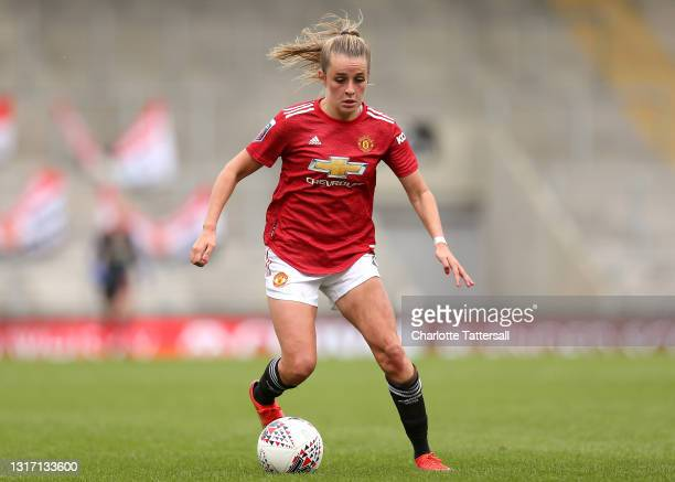 Ella Toone of Manchester United runs with the ball during the Barclays FA Women's Super League match between Manchester United Women and Everton...