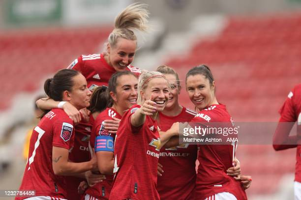 Ella Toone of Manchester United Women celebrates after scoring a goal to make it 1-0 during the Barclays FA Women's Super League match between...