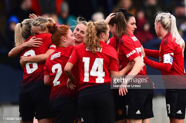 Ella Toone of Manchester United Women celebrates scoring their first goal during the SSE Women's FA Cup match between Manchester United Women and...
