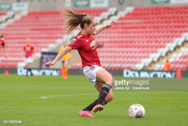 Ella Toone of Manchester United Women scores the opening goal during the Barclays FA Women's Super League match between Manchester United Women and...