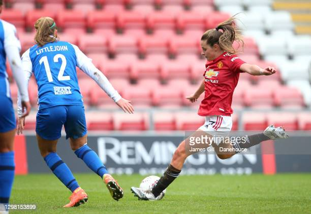 Ella Toone of Manchester United Women scores their second goal during the Barclays FA Women's Super League match between Manchester United Women and...