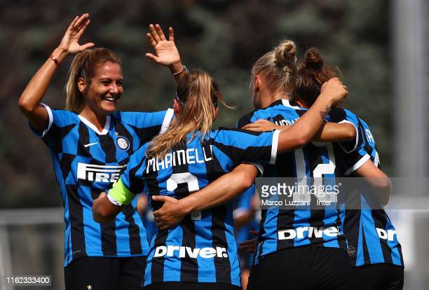 Ella Van Kerkhoven of FC Internazionale celebrates her goal with her teammates during the friendly match FC Internazionale Women and Espanyol Women...
