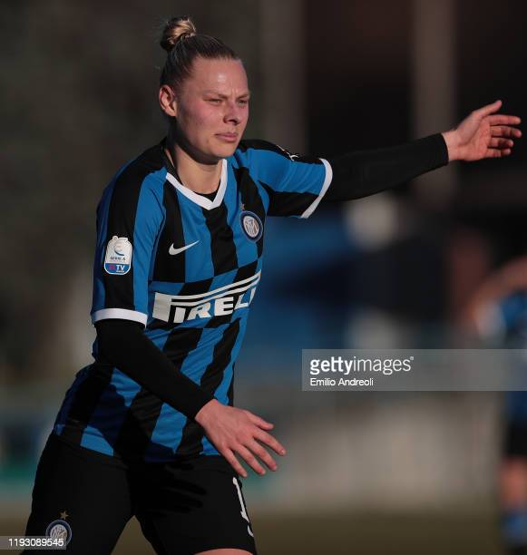 Ella Van Kerkhoven of FC Internazionale gestures during the Women Serie A match between FC Internazionale and Florentia San Gimignano at Campo...