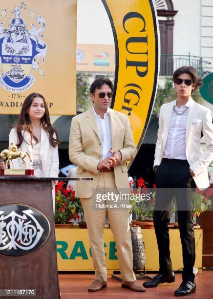 Ella Wadia, Ness Wadia and Jah Wadia at the CN Wadia Gold Cup 2020 Race Day on March 08, 2020 in Mumbai, India.